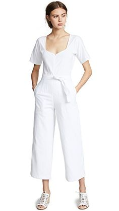 795c935ef7c Loup Alison Jumpsuit White Clothing, Square Necklines, White Outfits, Dress  Ideas, Overalls
