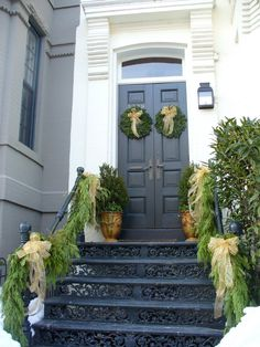 georgetown swagged garland, potted evergreens, matching door wreaths