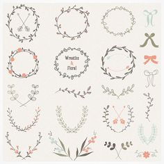 Hand Drawn Laurels Wreaths Vector Collection by Vecteezy on Etsy