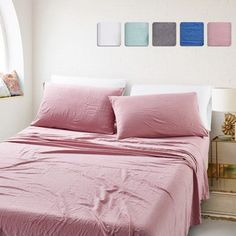 Shop for California Design Den Relaxed Washed Microfiber Sheet Sets. Get free delivery On EVERYTHING* Overstock - Your Online Bedding Basics Store! Egyptian Cotton Sheets, 100 Cotton Sheets, Cotton Sheet Sets, Bed Sheet Sets, Flat Sheets, Bed Sheets, Queen Sheets, Cozy Bed, Cotton Bedding