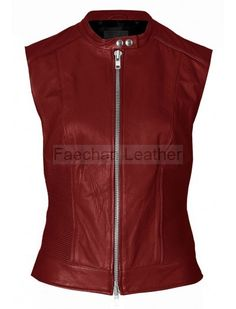 Statuesque Womens Maroon Leather Biker Vest