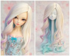 "Blonde/Pastel Mix Long Alpaca Fibre Wig - Minifee Size 7"" Etsy SoraBJDFashion"