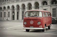 Love it. In front of the National Bank of Switzerland in Zürich. VW Camper van T2