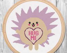 unique items from FantastitchKingdom on Etsy, a global marketplace of handmade, vintage and creative goods. kawaii hedgehog or hedgehug ;-) funny and cute cross stitch patterns. Hug me!