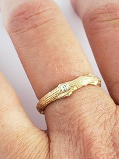 Twig Diamond ,Alternative engagement/wedding ring set in White gold and yellow gold Made to order Engagement Wedding Ring Sets, Wedding Rings, Twig Ring, Diamond Alternatives, Wide Band Rings, Bangles, Gold, Etsy, Jewelry