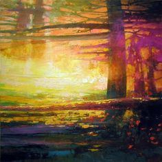 Calm Light: Arcadian 883 by Mark Gould Landscape Artwork, Watercolor Landscape, Contemporary Paintings, Painting Inspiration, Abstract Art, Original Art, Fine Art, Nature, Distance