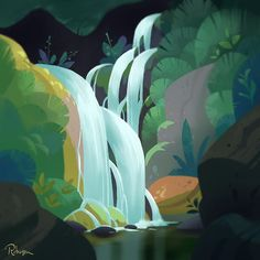 Part 3 of my #bigsur inspired nature paintings for #ctnx. #waterfall #forest #california #landscape