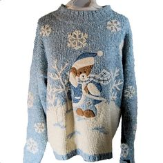 Sky blue, snowflakes, and a teddy bear. Perfect!
