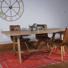 Industrial Steel and Oak Trestle Dining Table and leather chairs - Modish Living Reclaimed Wood Dining Table