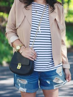 Ninesto5: Striped Tee & Boyfriend Shorts {casual summer outfit}