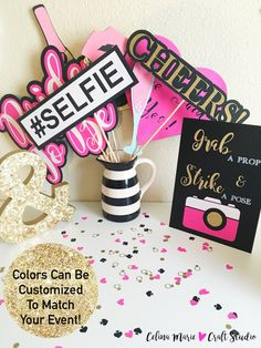 Grab a prop and Strike a pose! Everyone loves a good Party Pic! This listing includes: 1- 8x10 Strike A Pose Sign 1- Lips Prop 1- Sunglasses Prop 1- Crown Prop 1- Champagne Bottle Prop 2- Champagne Glass Props 1- #Selfie Prop 1- CHEERS Prop 1- Bride To Be Prop 1- She Said Yes Prop 1- Diamond Ring Prop  Sizes Vary by prop and range from about 2 to 11.5. Most, but not all include glitter accents. This set uses Hot Pink, Black, White, White Glitter, and Gold Glitter, but I can make it in your…