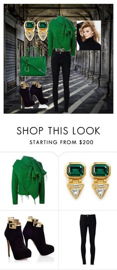 """""""Emerald"""" by laisy-daisy ❤ liked on Polyvore featuring Marques'Almeida, Kenneth Jay Lane, Ström, Fendi and SUITEBLANCO"""