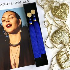 Materials: luxury fittings, handmade brushes, viscose 100%, cubic zirconia, gilded fittings, gold Size: 14.5 cm. It is possible to trim brushes to the desired length. ##handmade Cubic Zirconia Earrings, Brushes, Gold Earrings, Size 14, Indigo, Tassels, Dark Blue, Luxury, Handmade