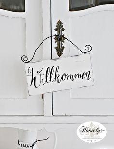 """Deko-Objekte - Holzschild """"Willkommen"""" Shabby - ein Designerstück von Homely-Tw…"""