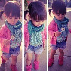 Pink fringe boots scarf cardigan sweater denim shorts cute little girls look