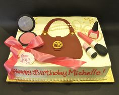 Girly purse and make-up cake  www.realbuttercream.com