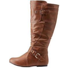 Charlotte Russe Cognac WIDE FIT Studded Flat Riding Boots by Twisted... ($49) ❤ liked on Polyvore featuring shoes, boots, cognac, cognac riding boots, knee high boots, wide calf stretch boots, flat boots and cognac boots