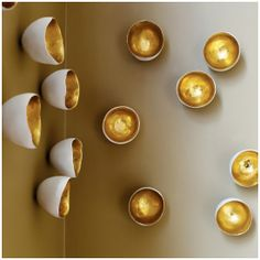 Interior HomeScapes offers the Seed Wall Play - Gold - Set of 20 by Gold Leaf Design Group. Visit our online store to order your Gold Leaf Design Group products today. Gold Walls, Metal Walls, Diy Wall, Wall Decor, Coconut Shell Crafts, Gold Leaf Design Group, Wall Ornaments, Ceramic Wall Art, Clay Wall Art