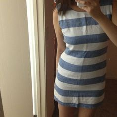 Blue and white striped hemp fabric summer dress Cute dress worn once hemp fabric summer dress/ waist 24-26 / size xs / size 0 or 2🙅no trade/ just marked down the price from $28 to $25 no more discount /thanks unknown Dresses
