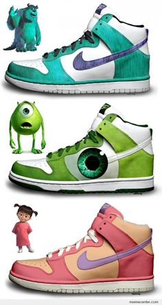Shoes (Sneakers) - Monsters Inc.: Sulley, Mike and Boo (by kaycunana / Nike) Custom Painted Shoes, Custom Shoes, Custom Sneakers, Zapatillas Jordan Retro, Estilo Geek, Sneakers Fashion, Shoes Sneakers, Canvas Sneakers, Sneaker Art