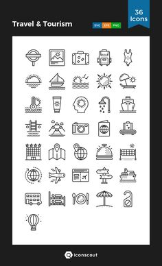 Travel & Tourism Icon Pack - 36 Line Icons