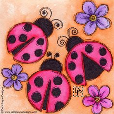 On the third day of Christmas my true love sent to me, three ladybugs, two butterflies, and a paisley on a teapot. Art Drawings For Kids, Drawing For Kids, Painting For Kids, Easy Drawings, Art For Kids, Arte Country, Art Journal Inspiration, Whimsical Art, Fabric Painting