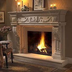 stone fireplace mantels | Balmoral Majestic Stone Fireplace Mantel - MantelsDirect.com