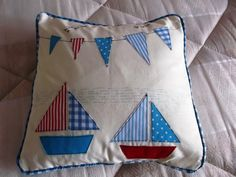 """Sailing Boats and Flags Cushion Cover 14x14"""" Beautifully Handmade by PoshandPrettyHome on Etsy https://www.etsy.com/listing/178130926/sailing-boats-and-flags-cushion-cover"""
