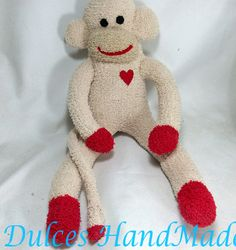Sock Monkey plush Animal Doll Baby children tan by THEMONKEYSHOP, $32.00