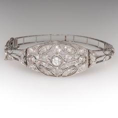 Circa 1910's Edwardian Old European Cut Diamond Platinum Bracelet