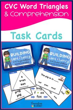 Decoding cvc short vowel words with Word Triangles and Sentence Comprehension task cards! Teach students to break apart words with onset and rime. Perfect for quick word work during guided reading and for literacy centers! #phonics #fluency #literacycenters #guidedreading #readinginterventions #RTI #wordwork #backtoschool #kindergarten #comprehension #firstgrade #elementary #classroom kindergarten, 1st grade, 2nd grade