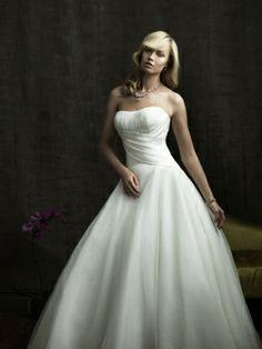 Organza Ball Gown Strapless With Criss Cross Bodice Chapel Train Wedding Dress
