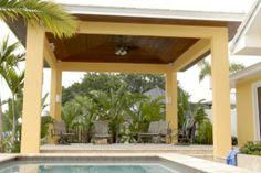 This beautiful cabana, located by the water in Tampa, FL, contains a ceiling made from East Teak's ipe and has received many compliments Ipe Wood, Cabana, Teak, Pergola, Ceiling, Outdoor Structures, Water, Beautiful, Gripe Water