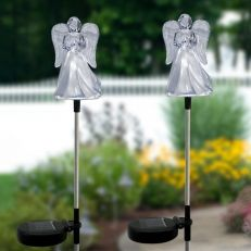 This Solar Angel Garden Stake by Alpine will add something special to your garden. It comes with a solar panel that stores energy during daytime and emits a blue glow at night. It's a nice alternative to the traditional holiday lights that everyone has. Solar Led Lights, White Led Lights, Angel Garden, Tabletop Fountain, Garden Stakes, Holiday Lights, Holiday Traditions, Red Roses, Flowers Garden
