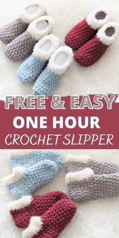 Quick Crochet, Chunky Crochet, Knit Or Crochet, Crochet Gifts, Crochet Stitches, Free Crochet, Easy Crochet Socks, Crocheted Afghans, Crochet Slipper Pattern