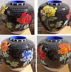 Black chrysanthemum ceramic mosaic pot. R2000.00