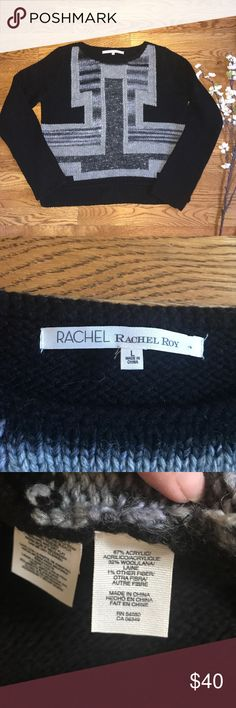RACHEL Rachel Roy black gray wool blend sweater L Black and gray wool blend sweater by Rachel Rachel Roy. Size large. Please refer to photos for approximate measurements. Excellent preowned condition RACHEL Rachel Roy Sweaters