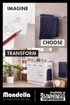 At Mondella, we'll help you plan, design and create your new bathroom. Available at Bunnings Warehouse Bathroom Inspo, Plan Design, Beautiful Bathrooms, Warehouse, Your Style, Finding Yourself, New Homes, Home Appliances, How To Plan