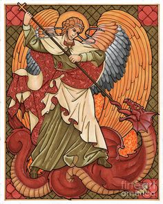 Saint Michael And The Dragon Art Print by Lawrence Klimecki. All prints are professionally printed, packaged, and shipped within 3 - 4 business days. Choose from multiple sizes and hundreds of frame and mat options. Catholic Crafts, Catholic Art, Religious Art, Dragon Art, Red Dragon, Angel Drawing, Biblical Art, Archangel Michael, Medieval Art