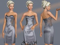 Satin and Lace Dress by NataliS  http://www.thesimsresource.com/downloads/1176541