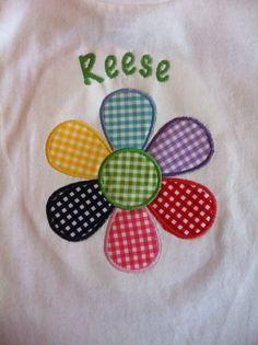 Personalized Summer Daisy Flower Applique and Embroidered Shirt #rileyblakedesigns #gingham