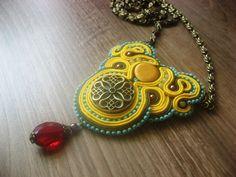 Soutache pendant in yellow. $37.00, via Etsy.
