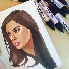 saro_sah: Used reference Amazing Drawings, Love Drawings, Art Drawings, Drawing Art, Marker Art, Marker Drawings, Copic Art, Portrait Art, Portraits