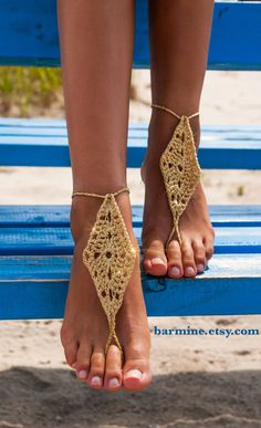 Gold Barefoot Sandals Metallic gold thread crocheted by barmine