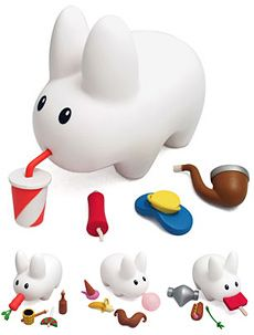 cute little plastic bunny pet where only the accessories multiply