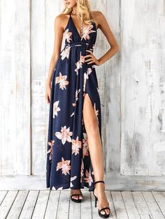 Awesome Simplee Boho deep v neck backless sexy dress Split cross lace up chiffon summer beach long dress Sleeveless maxi dress vestidos - Buy it Now! Boho Style Dresses, Beach Dresses, Sexy Dresses, Dress Outfits, Casual Dresses, Summer Dresses, Sleeveless Dresses, Floral Dresses, Modest Dresses