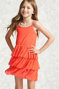 Forever 21 Girls - A mesh knit cami dress featuring a scoop neckline, adjustable cami straps, and a layered ruffle skirt. Girls Sports Clothes, Kids Outfits Girls, Cute Girl Outfits, Cute Outfits For Kids, Little Girl Models, Little Girl Dresses, Preteen Fashion, Girl Fashion, Fashion Kids
