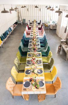 La Tavola Fine Linen Rental: Assorted Velvet Table Runners | Photography: Studio EMP, Florals: Louloudi Floral Design, Tabletop Decor: Casa de Perrin, Chairs: Found Vintage Rentals