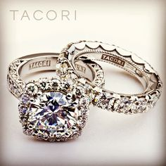 Tacori diamond engagement ring and matching wedding band.