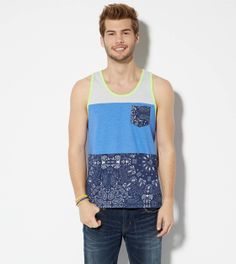 Periwinkle AE Colorblock Pocket Tank